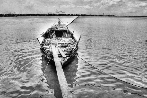 Moored Boat On The River @ India