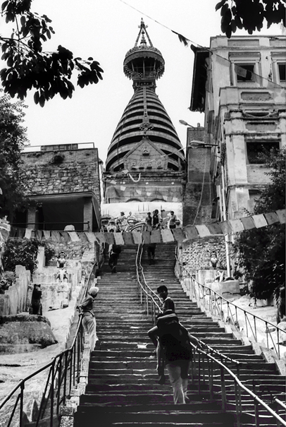 Steep stairway up to stupa