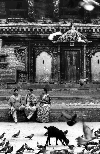 Three Women In Durbar Square (Nepal)