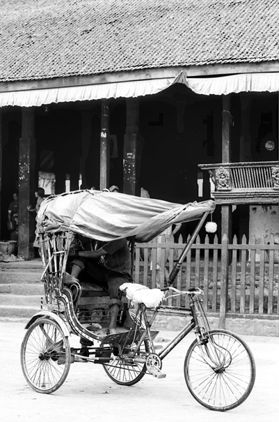 Cycle rickshaw with a hood