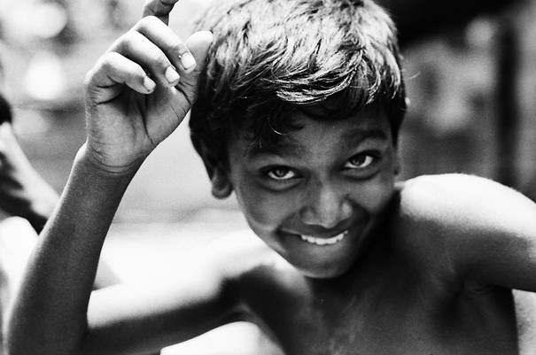 Boy striking pose strongly