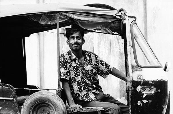 Round Eyes On An Auto Rickshaw (India)