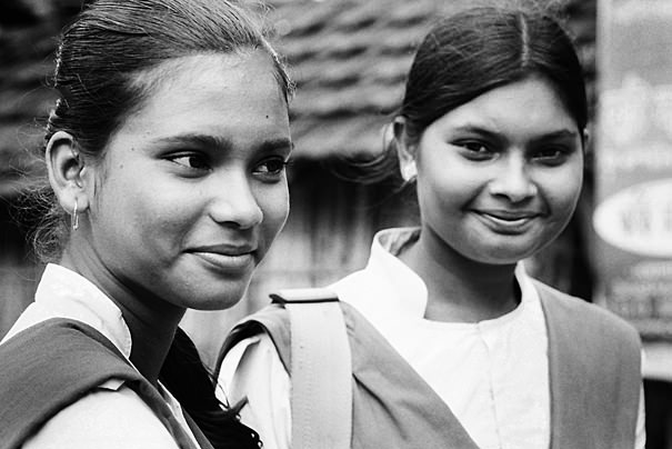 School girls standing talking