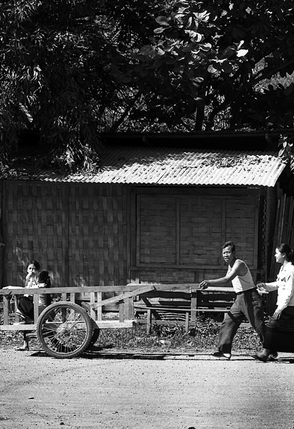 Cart And A Family @ Laos