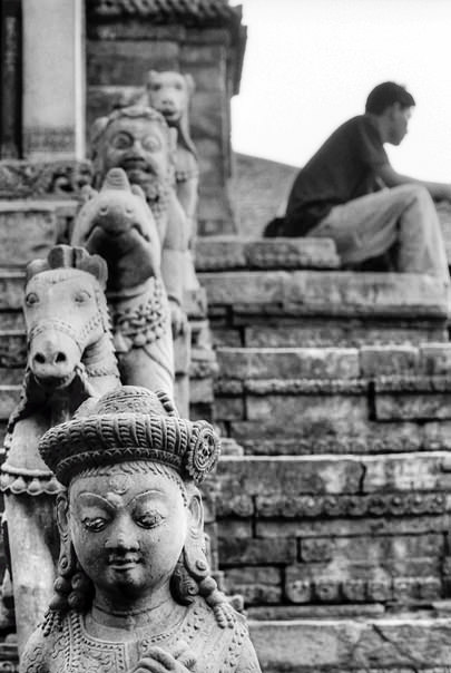 Statues And A Figure @ Nepal