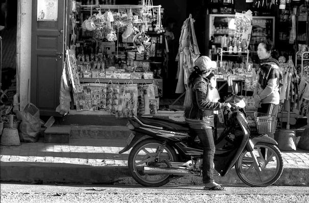 Motorbike In Front Of A Shop (Laos)