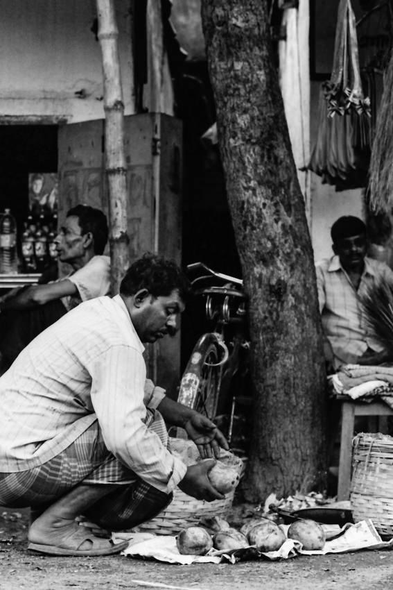 Man putting mangoes