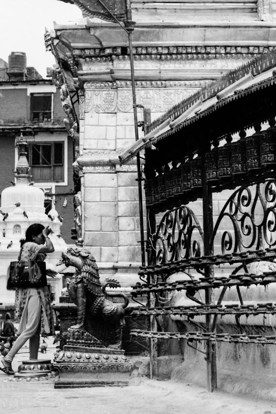 Woman praying in Swayambhunath