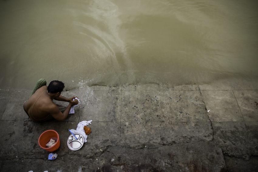 Man washing in river