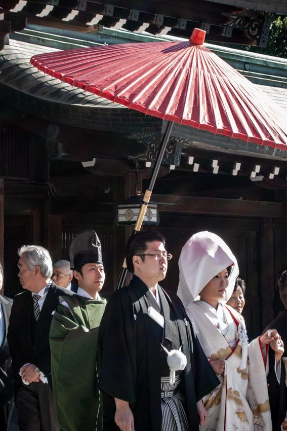 Bridal couple in Meiji Jingu