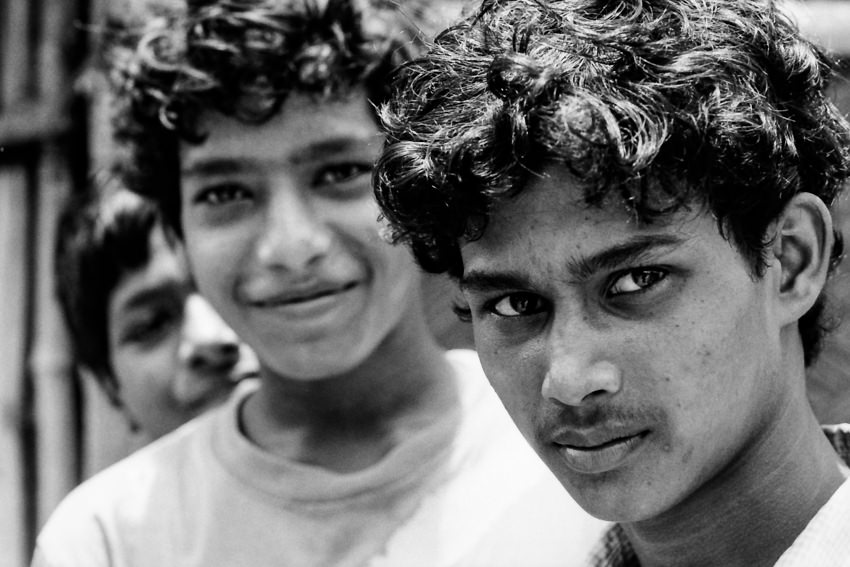 Eyes of three young men