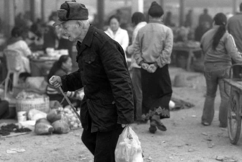 Old man in market