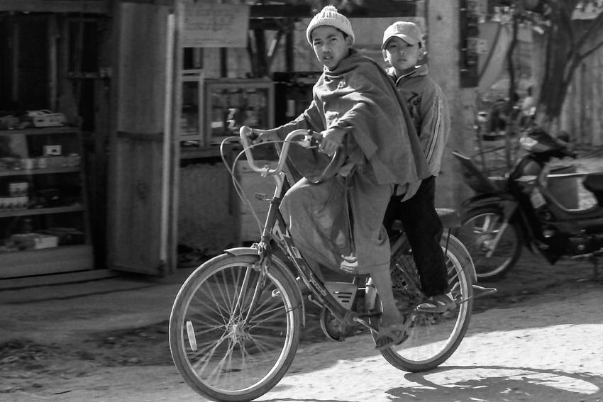 Two boys on bicycle