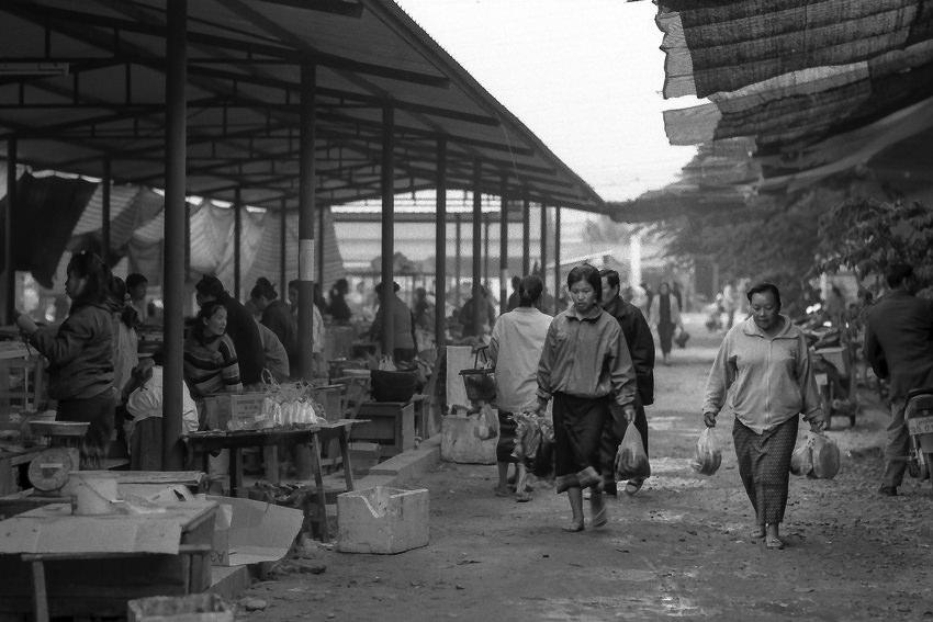 Women walking in market