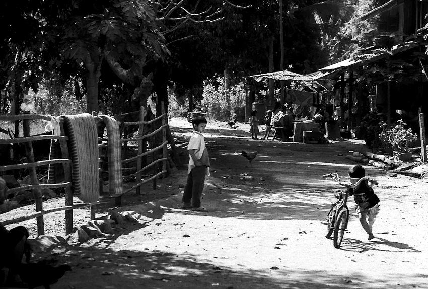 Little boy walking bicycle