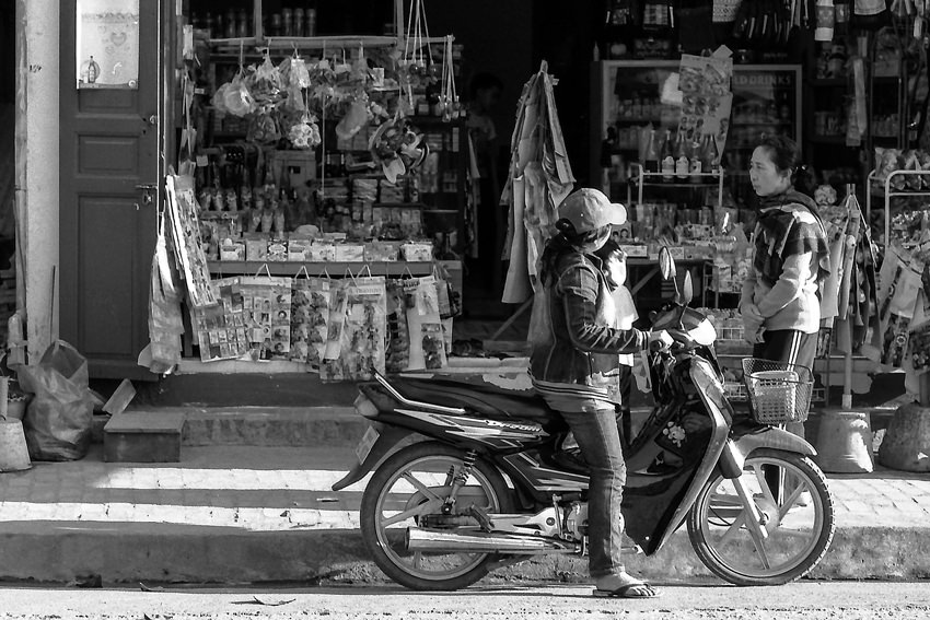 Motorbike in front of shop