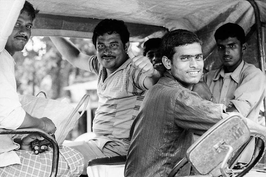 Men on car