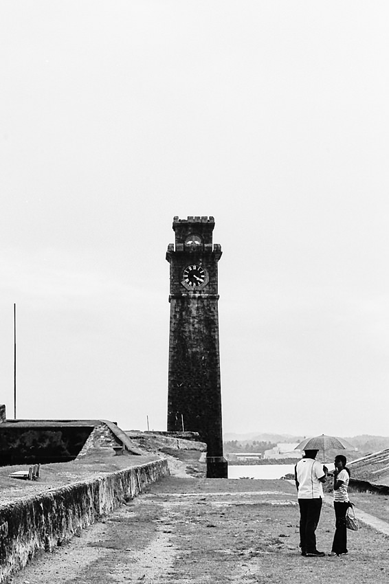 Clock tower and couple