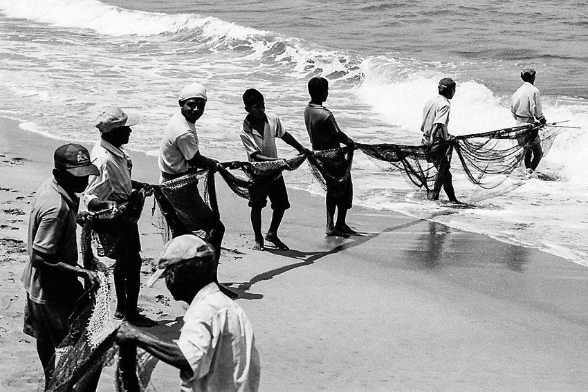 網を引く漁師たち
