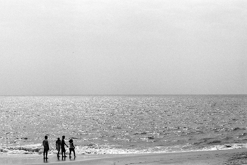 Silhouettes on beach