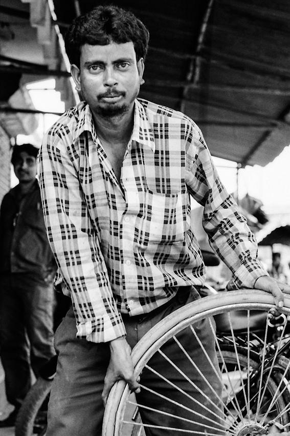 Man holding wheel