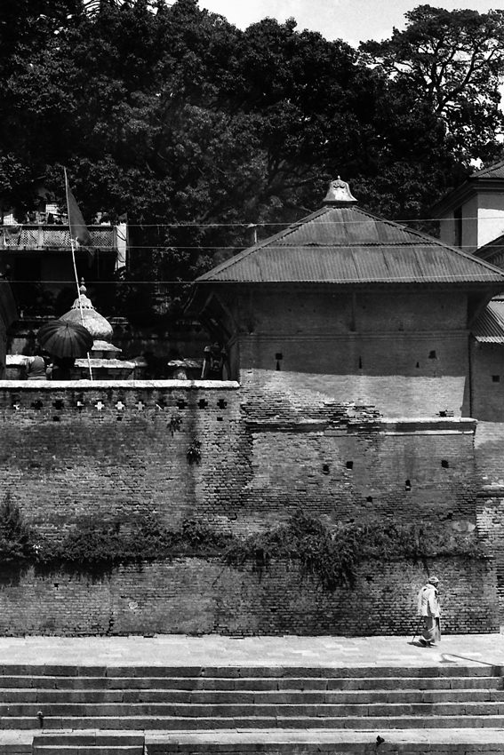 Figure hobbling along in Pashupatinath