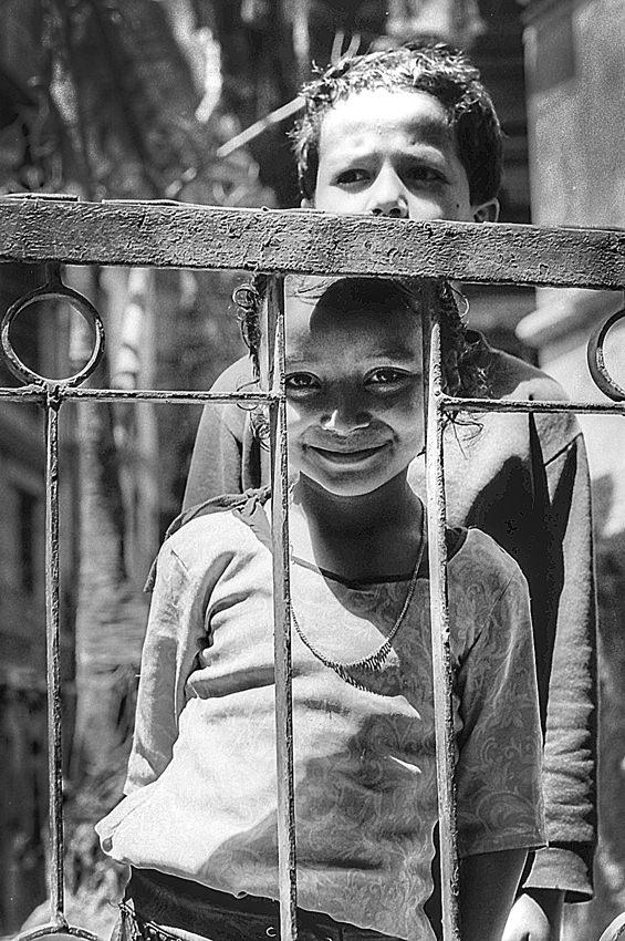 フェンスの向こうに立つ女の子と男の子