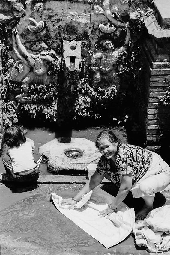 Older woman washing