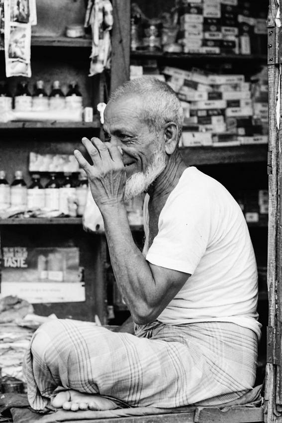 Old man drinking Chai
