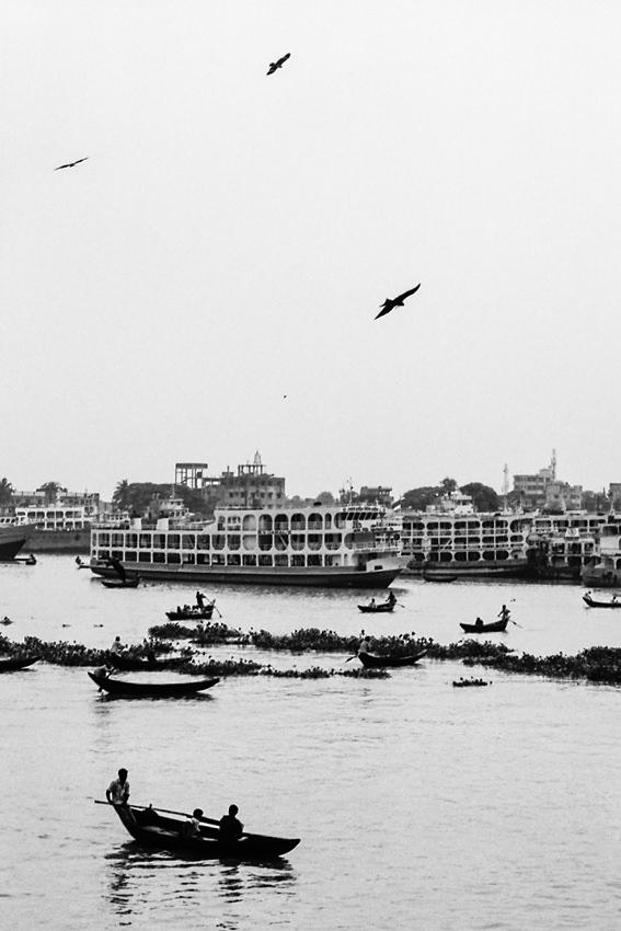 Rowboats floating on Buriganga River