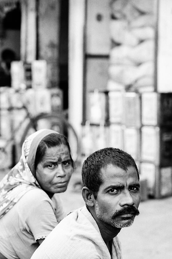 Man and woman looking altogether