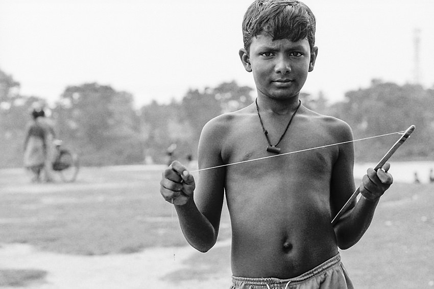 Boy having kite string