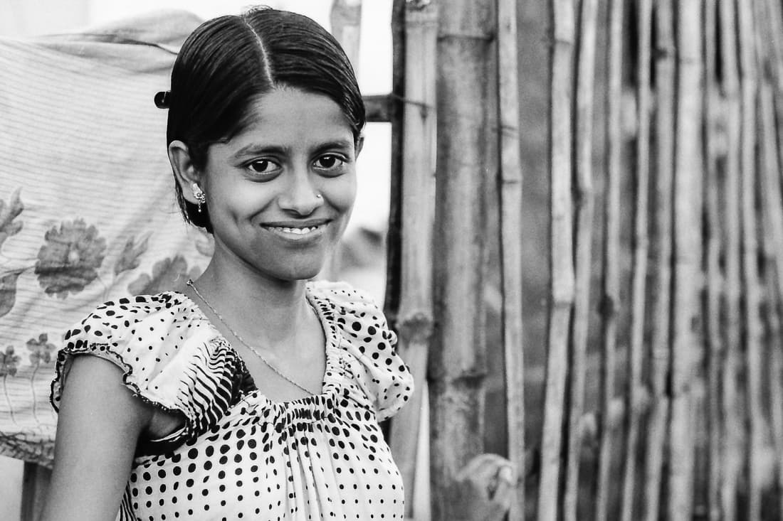 Smile of dimpled woman