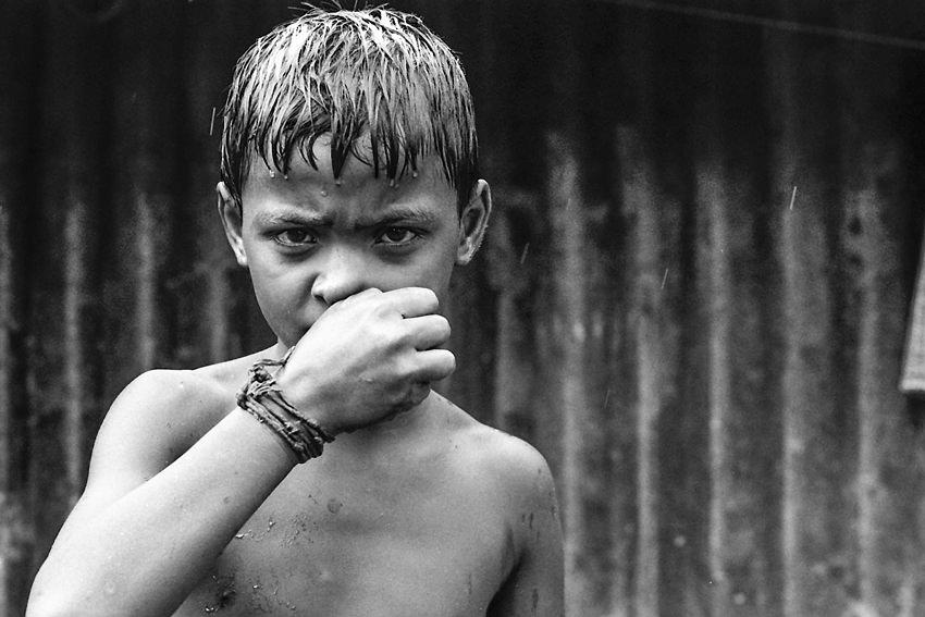 Waterlogged boy