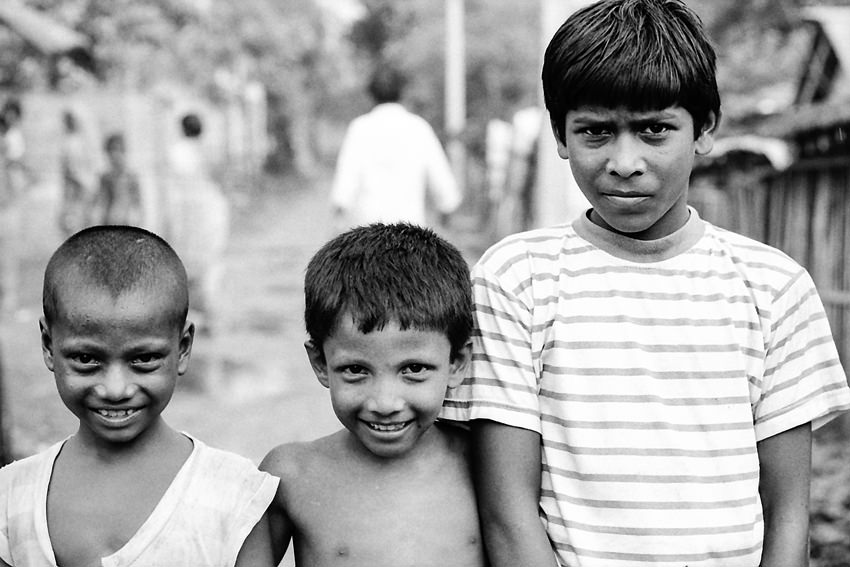 Two little boys and an elderly boy