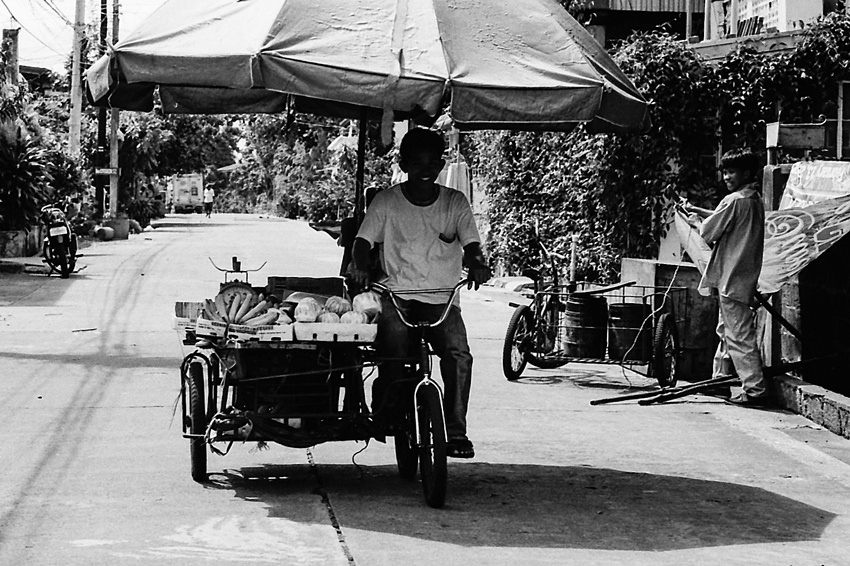 Tricycle with big umbrella