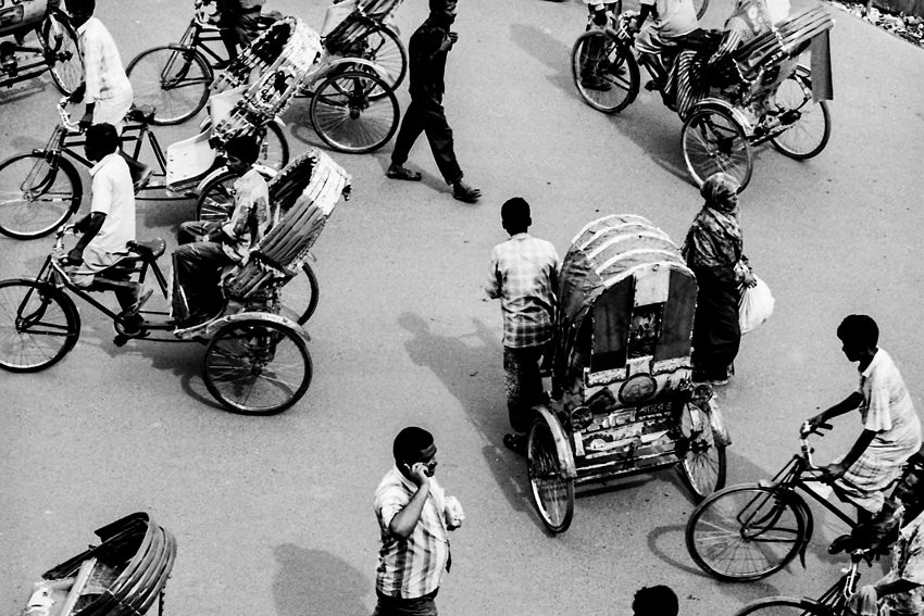 Street crowded with cycle rickshaw