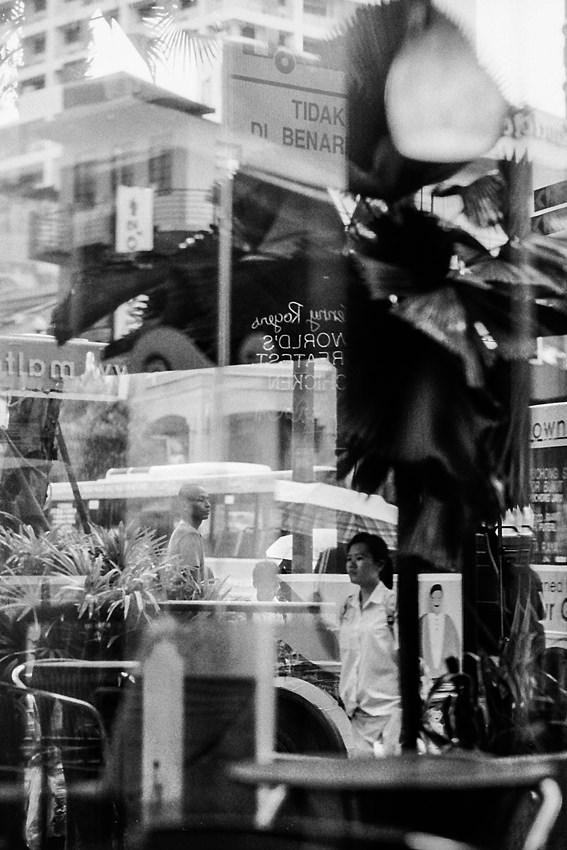Street through glass window