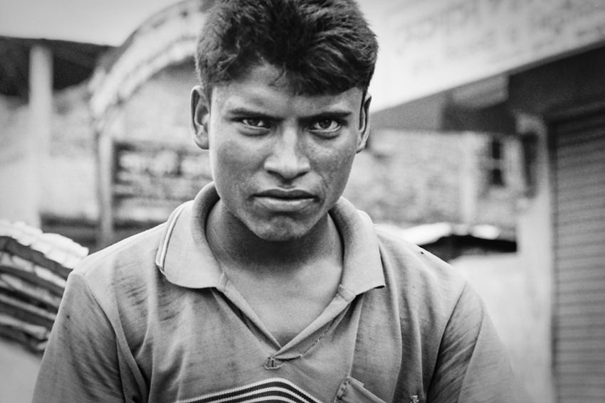 Rickshaw wallah with a stern face