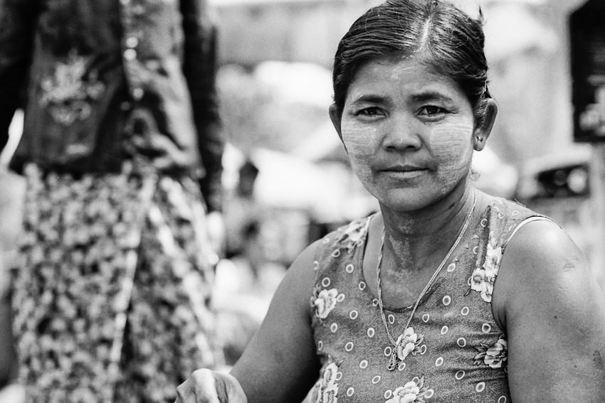 Woman working at food stall