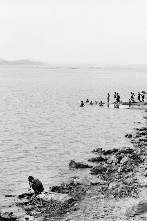 People washing in the river