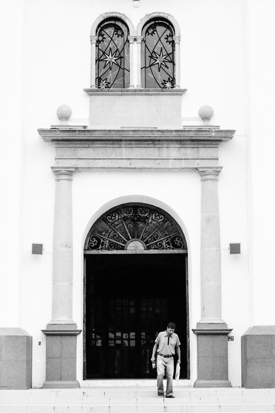 Man coming out of church