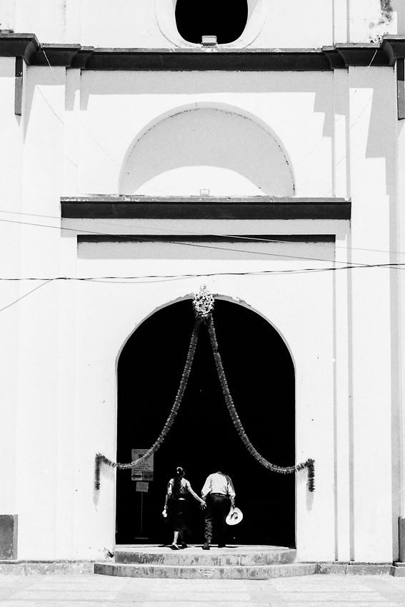 Couple entering into church