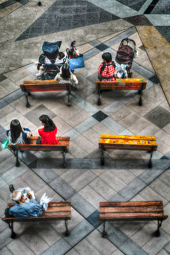 Six benches in square