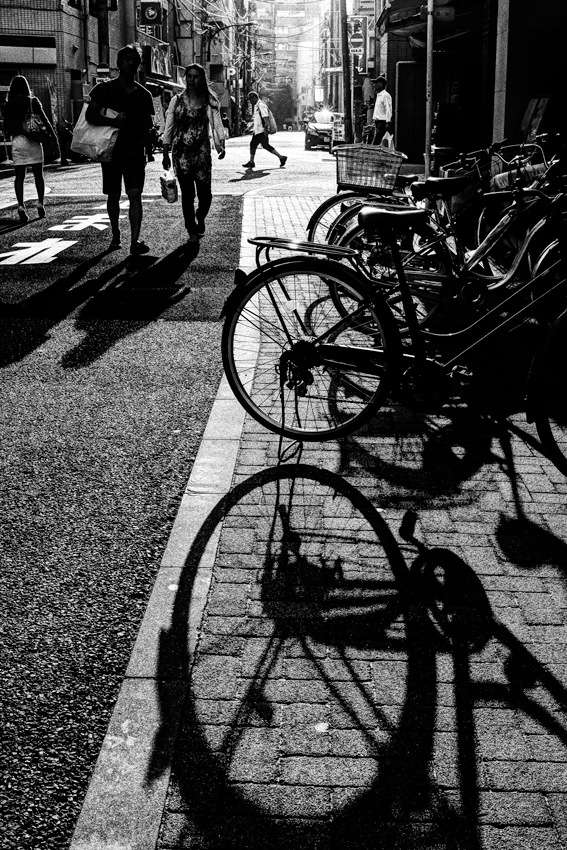 Silhouettes of bicycles