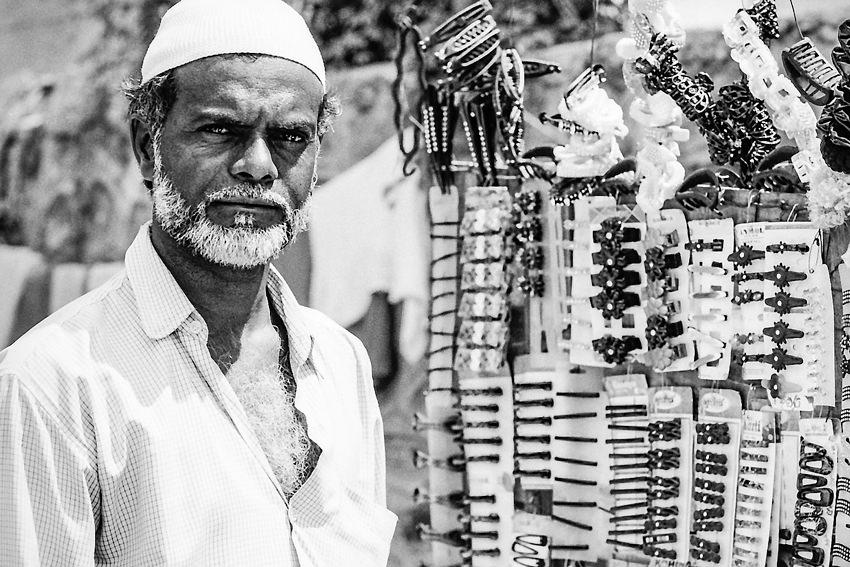 Street vendor selling accessories