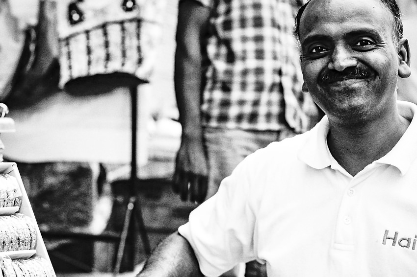 laugh-filled street vendor
