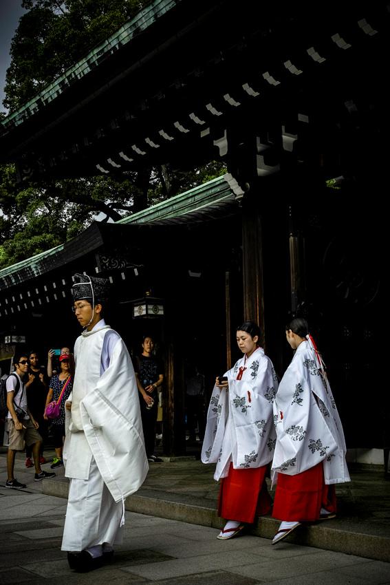 Shinto priest and priestesses