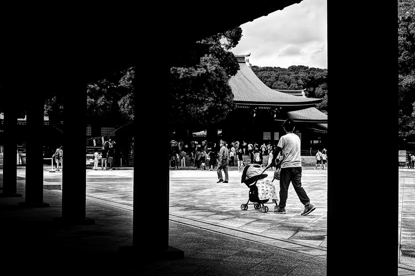 Baby buggy in Shinto shrine