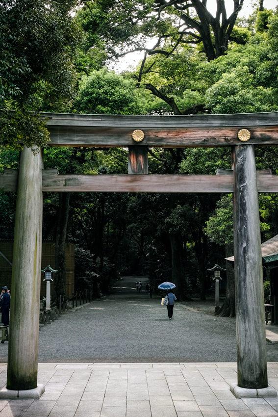 Umbrella on other side of Torii